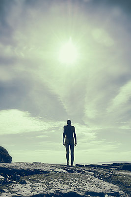 Naked man standing on rocks looking out to sea - p597m2008076 by Tim Robinson