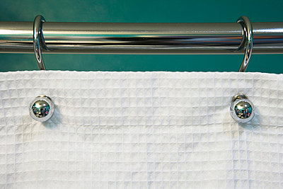 Teal Wall and Curtain Rod Holding White Shower Curtain - p5550922f by LOOK Photography