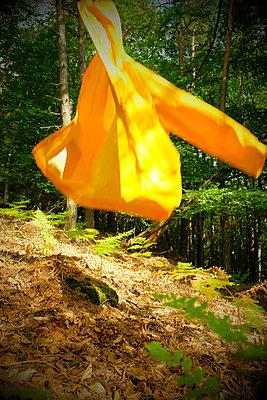 Fliegende gelbe Regenjacke - p260m2222600 von Frank Dan Hofacker