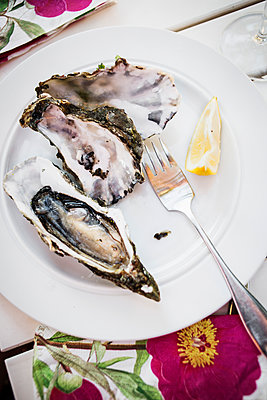 Oysters On A Plate With Fork And Lemon Slice  - p847m1529316 by Kamilla Kraczkowski