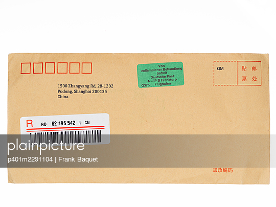 Envelope with customs sticker - p401m2291104 by Frank Baquet