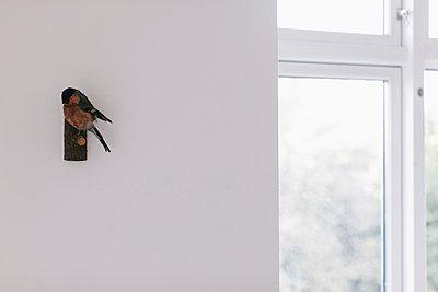 Ausgestopfter Vogel als Dekoration in einer Wohnung - p586m951996 von Kniel Synnatzschke