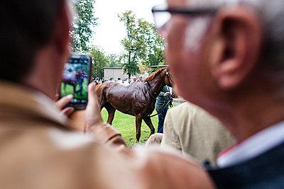 Mann fotografiert Pferd nach Rennen - p1301m1441606 von Delia Baum