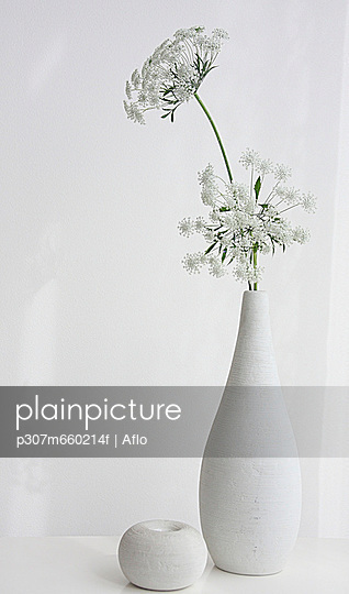 White Flower Vase On Table