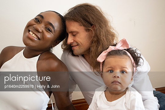 Multi ethnic family with toddler girl - p1640m2259978 by Holly & John