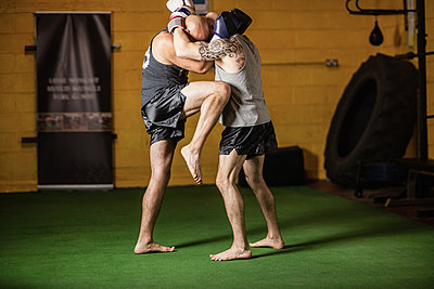 Thai boxers practicing boxing - p1315m1198943 by Wavebreak
