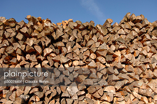 Piled firewood - p3007449f by Claudia Rehm