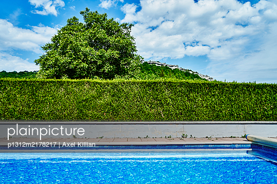 Pool with hedge and tree, Village in background - p1312m2178217 by Axel Killian