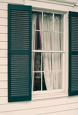 Outside View of Window with Shutters and Curtains and Statue Inside - p1617m2264067 by Barb McKinney
