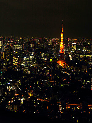Tokyo cityscape at night, Japan - p312m857881f by Pia Ulin