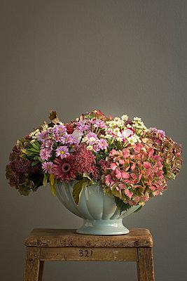 Türkise Schale mit herbstlichen Blüten bestückt. - p948m2134077 von Sibylle Pietrek