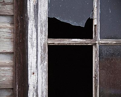 Broken barn window; parkland county alberta canada - p442m700072f by Leah Bignell