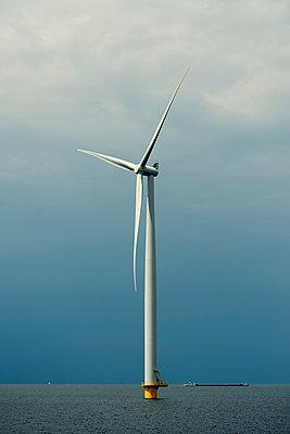 Offshore wind turbine, IJsselmeer lake, Espel, Flevopolder, Netherlands - p429m1155666 by Mischa Keijser