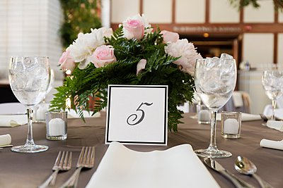 Table setting at wedding - p924m1067330f by Roberto Westbrook