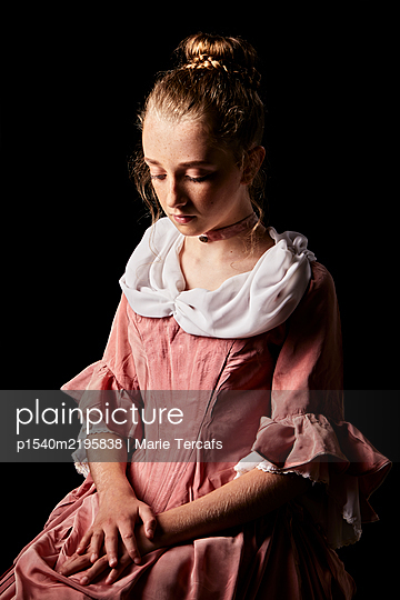 portrait of a little girl wearing an eighteenth century dress - p1540m2195838 by Marie Tercafs