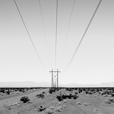 Power Lines, Mojave Desert - p1489m1575392 by Paul Simcock