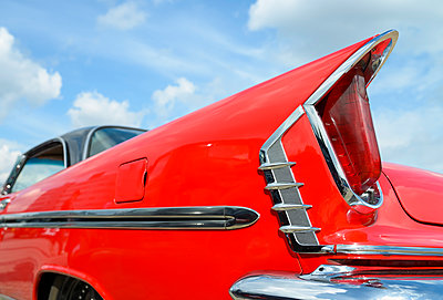 Detail of oldtimer, red DeSoto - p300m2042964 by Roy Jankowski