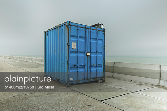 Blue Container - p1488m2219758 by Sid Miller