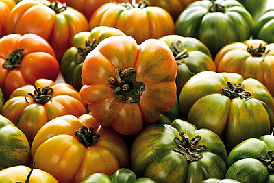Oxheart Tomatoes, close-up, full frame - p3004401f by Dieter Heinemann