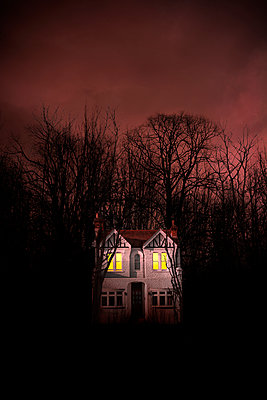 Spooky House Secluded in Bare Trees and Red Sky - p1248m2245597 by miguel sobreira