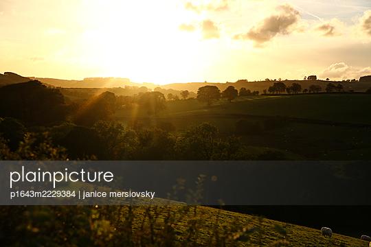 Sonnenuntergang über einer Hügellandschaft, England - p1643m2229384 von janice mersiovsky