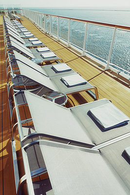 Deck chairs on a cruise ship - p1154m2289178 by Tom Hogan