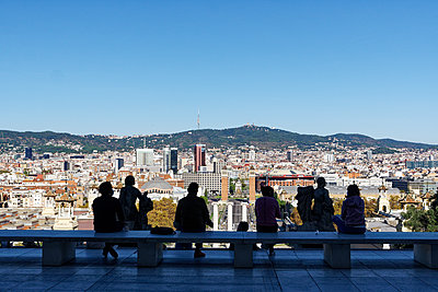 View from viewing platform on the city of Barcelona - p1402m2217597 by Jerome Paressant