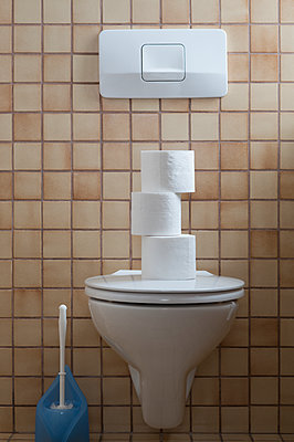 Toilet with stack of toilet paper - p300m1580795 by Claudia Rehm