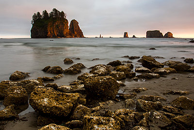 Scenery of Second Beach with small islands and rocks at sunset, La Push, Washington State, USA - p343m1526457 by Ben Girardi