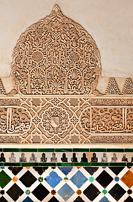 Richly ornamented facade, Alhambra, Granada, Spain - p1256m2177856 by Sandra Jordan