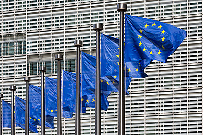 Row of European flags outside Berlaymont building, European Commission headquarters, Brussels, Belgium - p429m1012083 by Alex Holland