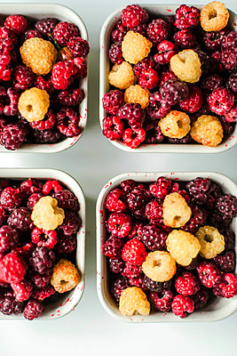 Many fresh raspberry close up top view - p1166m2290190 by Cavan Images