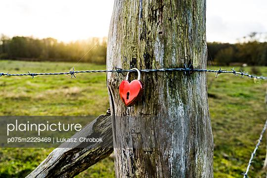 Stacheldraht mit Liebesschloss - p075m2229469 von Lukasz Chrobok