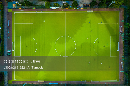 Aerial view of soccer field - p300m2131622 by A. Tamboly