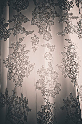 Lace Wedding dress close up - p1072m874927 by Neville Mountford-Hoare
