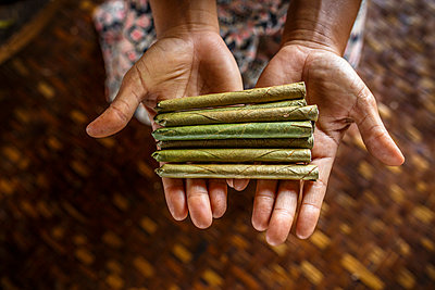 Hands of woman holding pile of cheroot cigars, Shan State, Myanmar - p343m1569077 by Steele Burrow