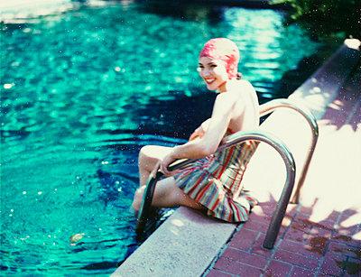 Girl Entering Pool - p6941893 by Mimi Haddon