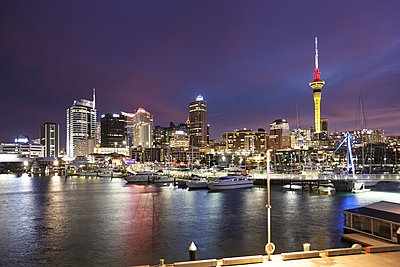 New Zealand, view to Auckland at evening twilight - p300m950751f by Stefan Deutsch