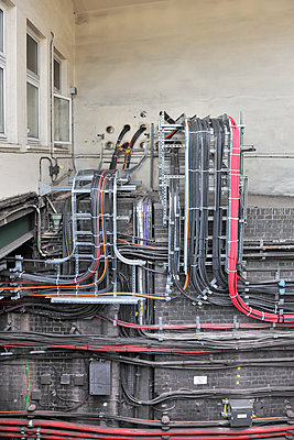 Railway station electrical cables - p1048m1511074 by Mark Wagner