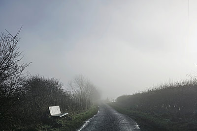 Bench beside country road, Houghton-le-Spring, Sunderland, UK - p429m1557613 by Dan Prince