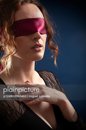 Woman With Blindfold  - p1248m2063463 by miguel sobreira