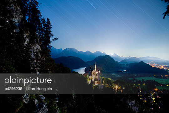 Neuschwanstein Castle, stars at night