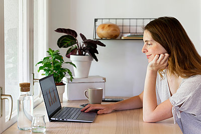 Female professional with hand on chin working on laptop at home office - p300m2287112 by VITTA GALLERY