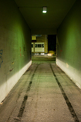 A tunnel with green light Sweden - p5281683f by Johan Willner