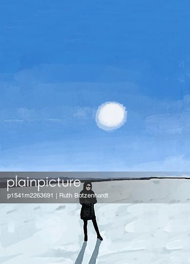 Illustration, Woman in snowy landscape - p1541m2263691 by Ruth Botzenhardt