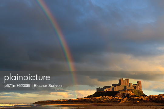 Rainbow's end at Bamburgh Castle, Bamburgh, Northumberland, England, United Kingdom, Europe - p871m962008f by Eleanor Scriven