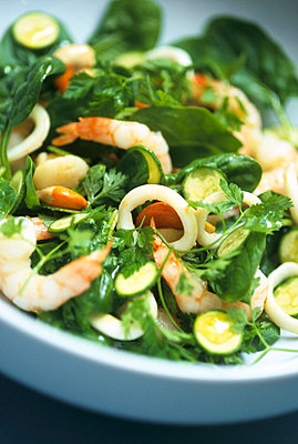 Courgette and seafood salad - p3490788 by Jan Baldwin