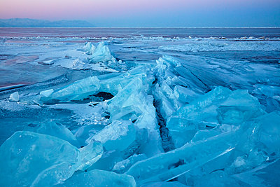 Lake Baikal in winter ice, Siberia, Russia - p871m2111476 by Rudi Sebastian