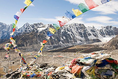 Prayer flags and mount everest - p9246530f by Image Source