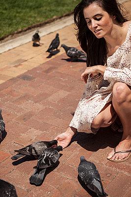 die Tauben füttern aus der Hand - p045m1355236 von Jasmin Sander
